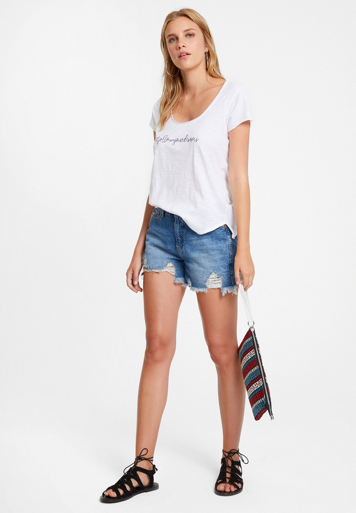Bayan Beyaz Slogan İşleme Tişört