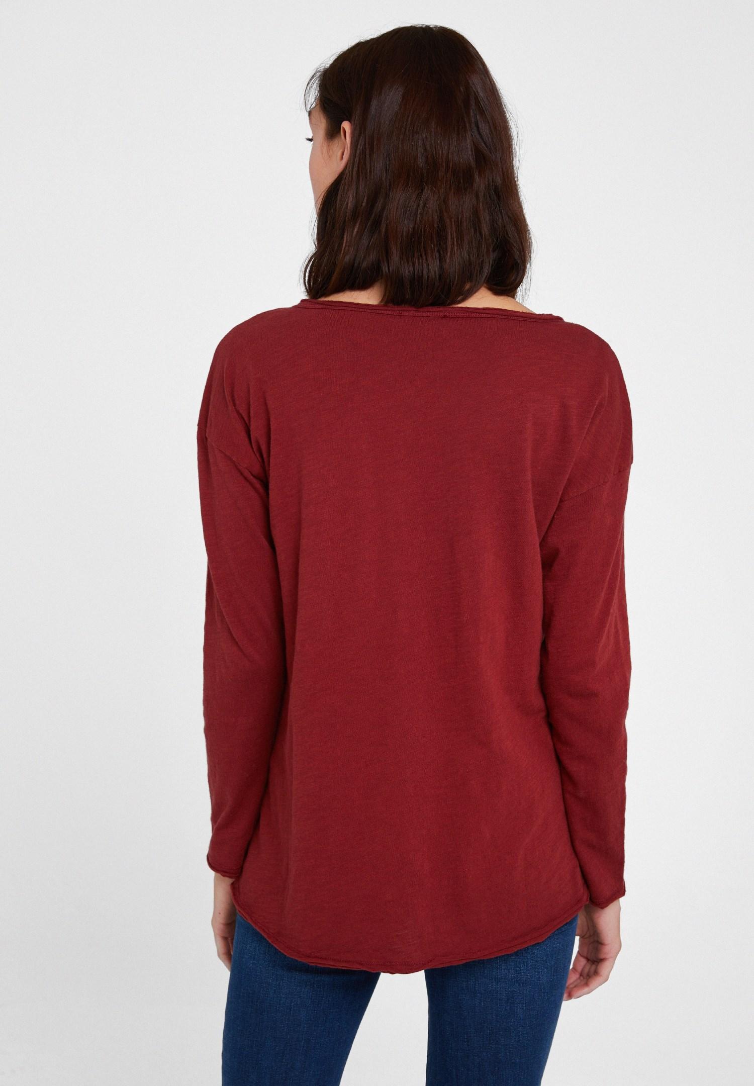 Bayan Kırmızı Bisiklet Yaka Pamuklu Tişört