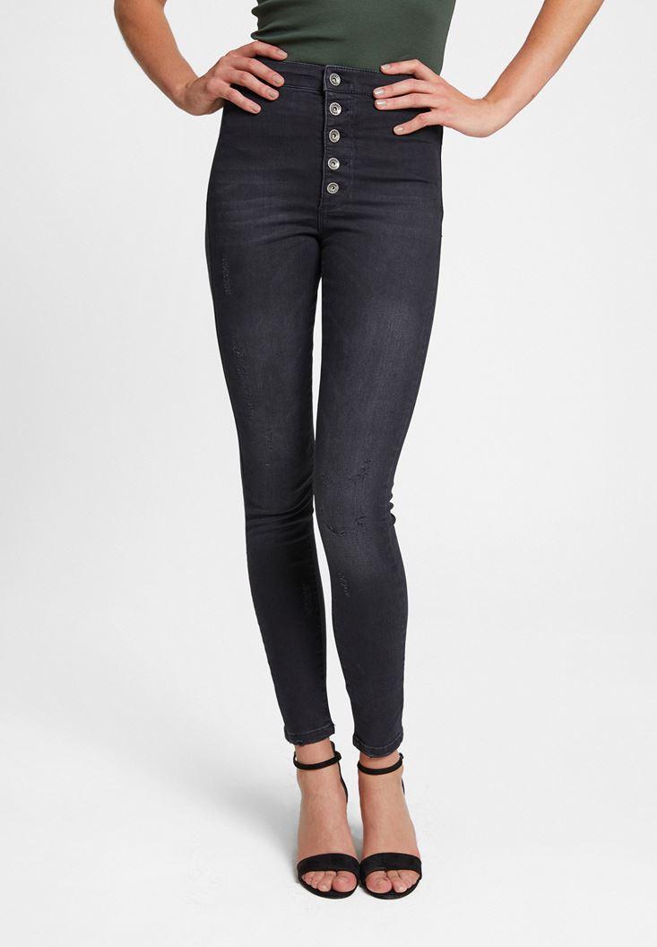 Siyah Çok Düğmeli Dar Paça Pantolon
