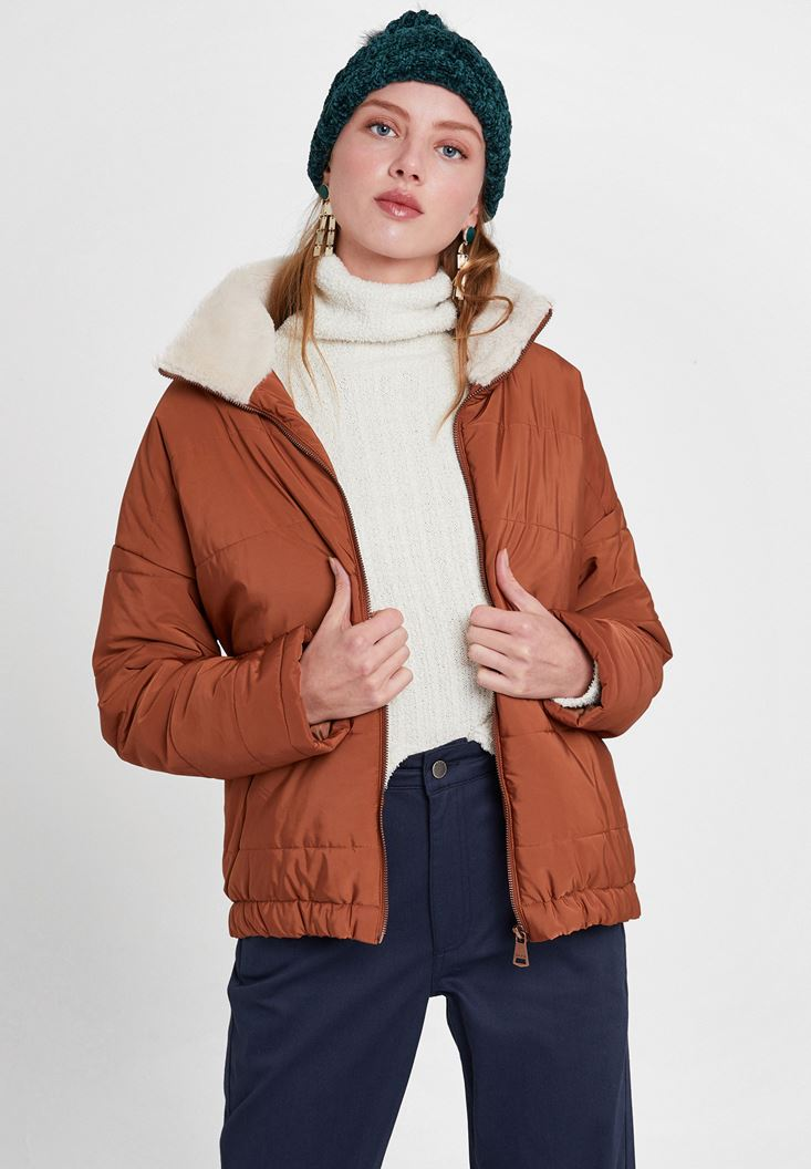 Brown Puffer Jacket with Faux Fur Details