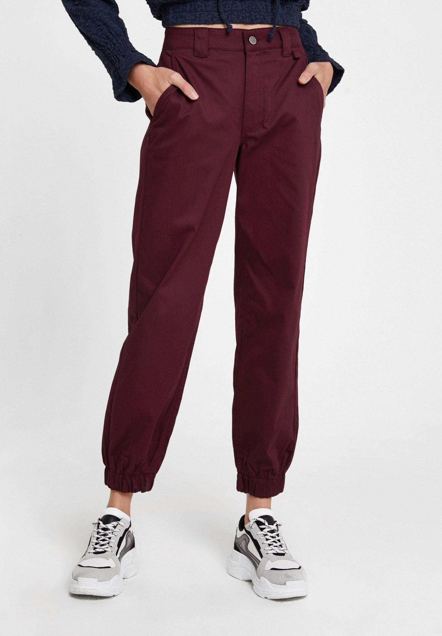 Bayan Bordo Paça Detaylı Cepli Bol Pantolon