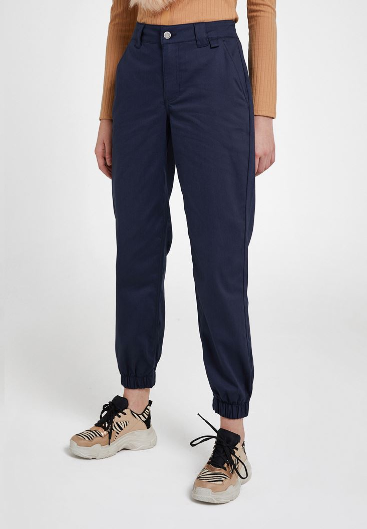 Lacivert Paça Detaylı Cepli Bol Pantolon