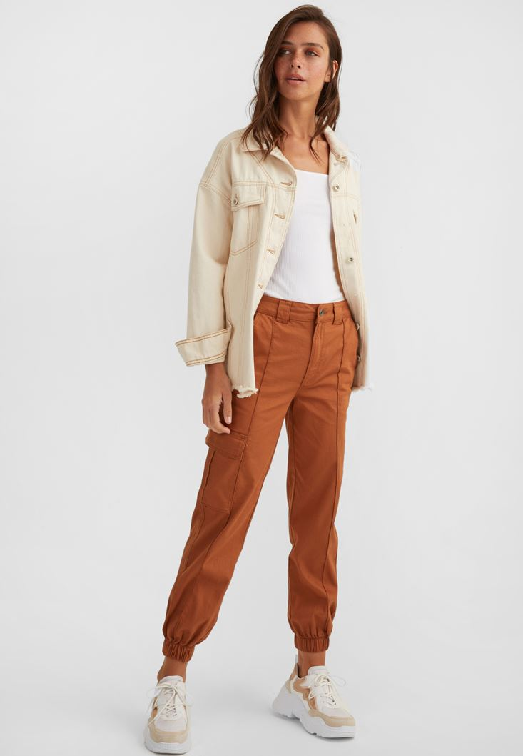Brown Cargo Trousers with Pockets
