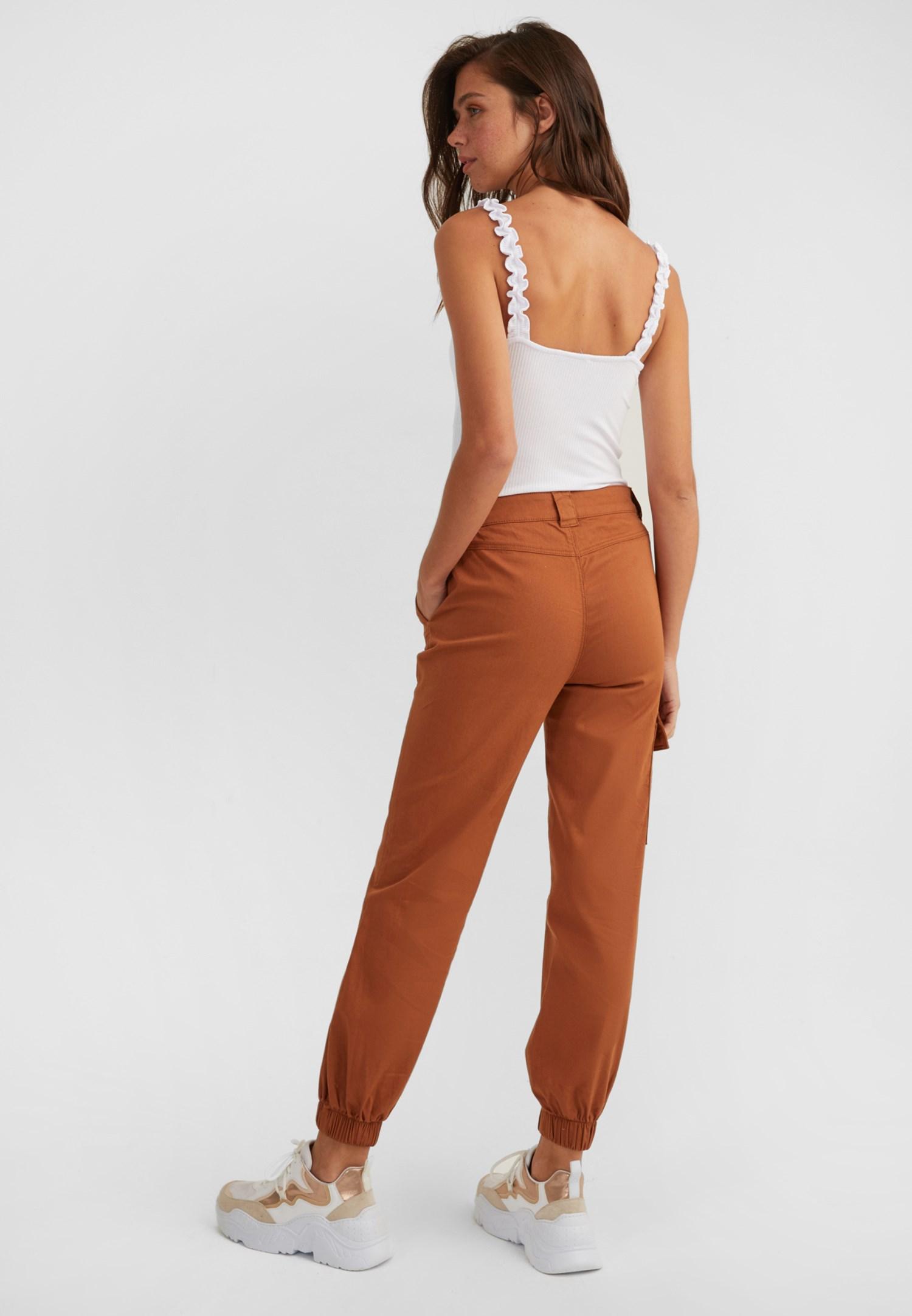 Bayan Kahverengi Cep Detaylı Kargo Pantolon
