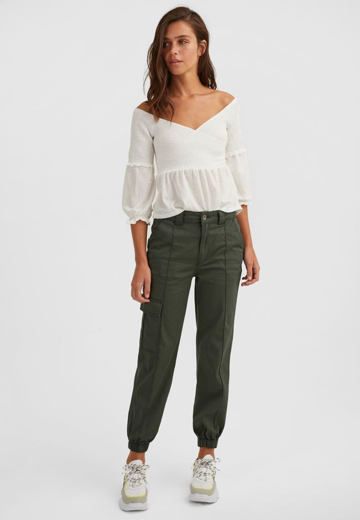 Green Cargo Trousers with Pockets