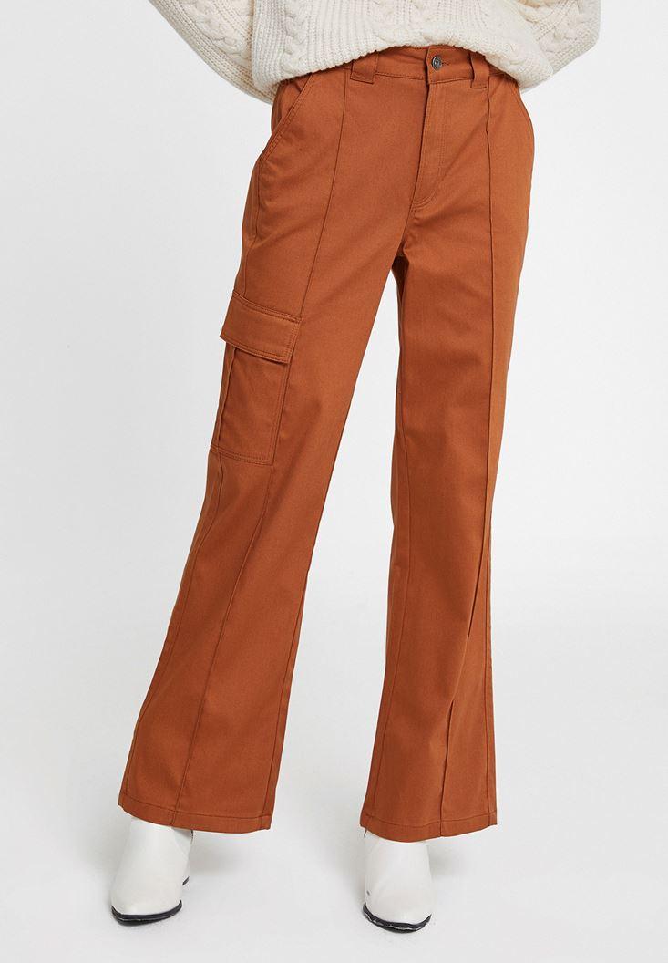 Kahverengi Cepli Yüksek Bel Pantolon