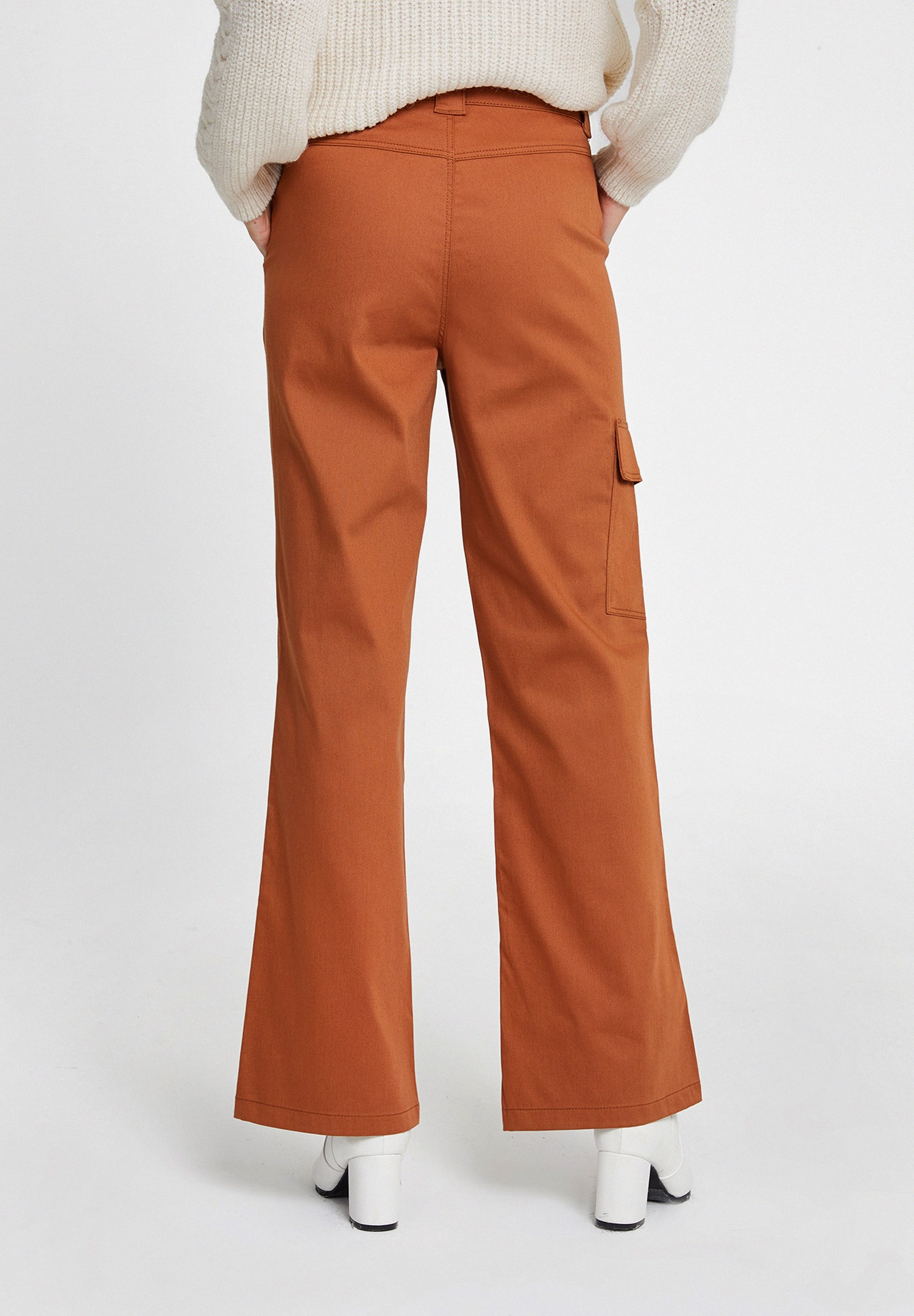 Bayan Kahverengi Cepli Yüksek Bel Pantolon