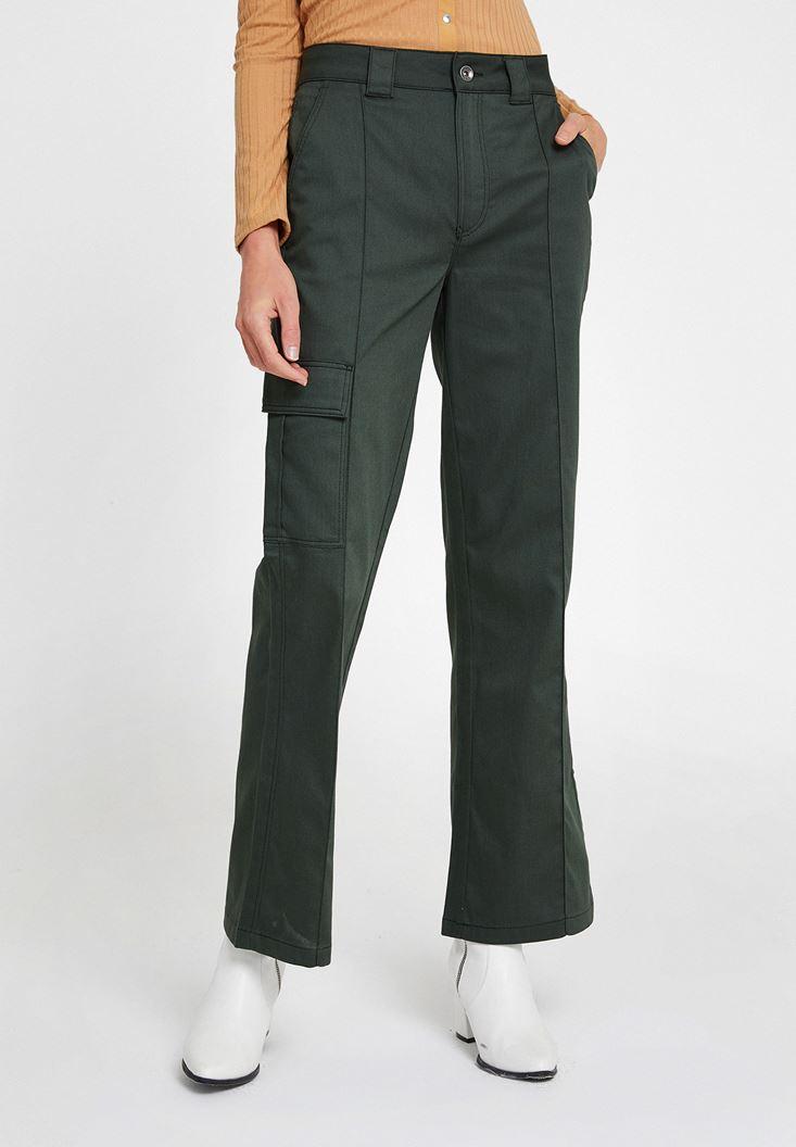 Yeşil Cepli Yüksek Bel Pantolon