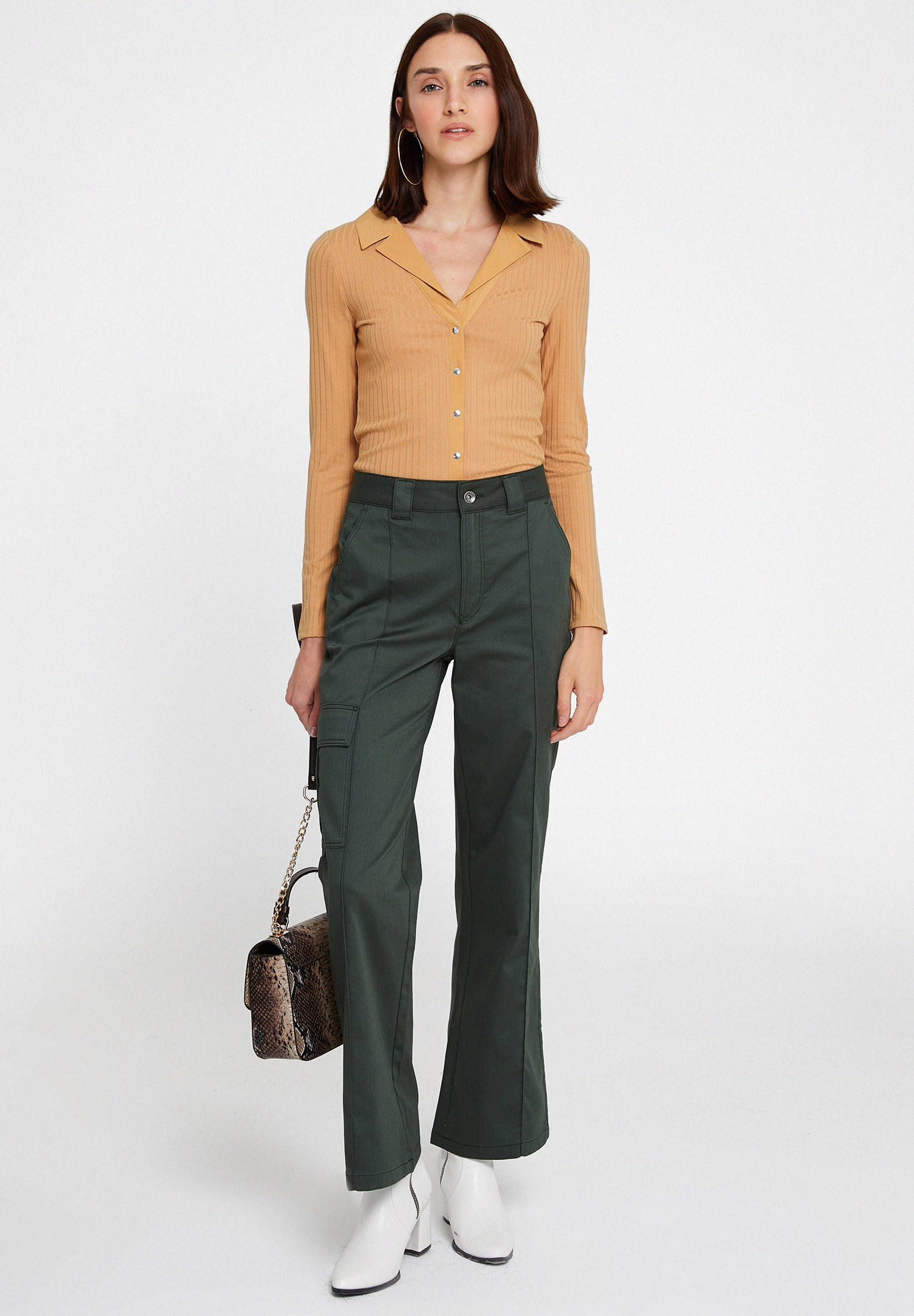 Bayan Yeşil Cepli Yüksek Bel Pantolon
