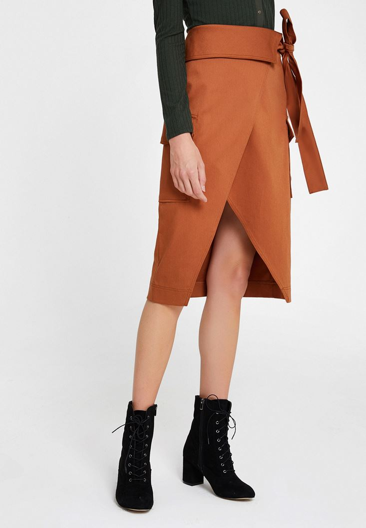 Brown Skirt with Belt and Pockets