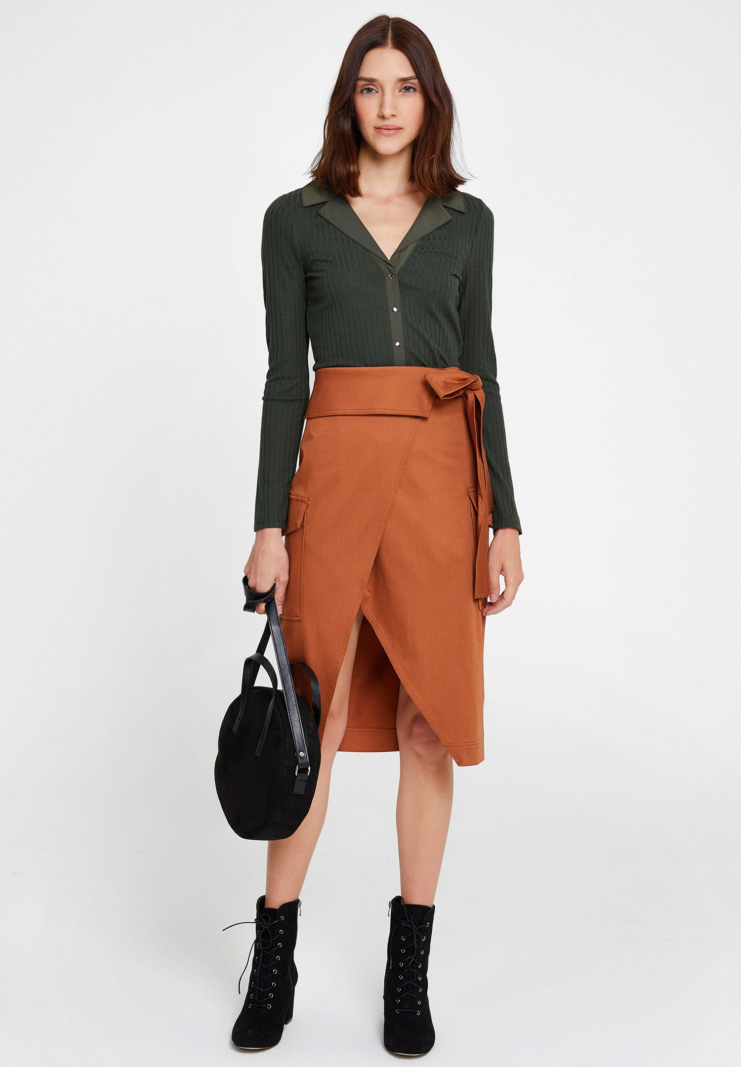Women Brown Skirt with Belt and Pockets