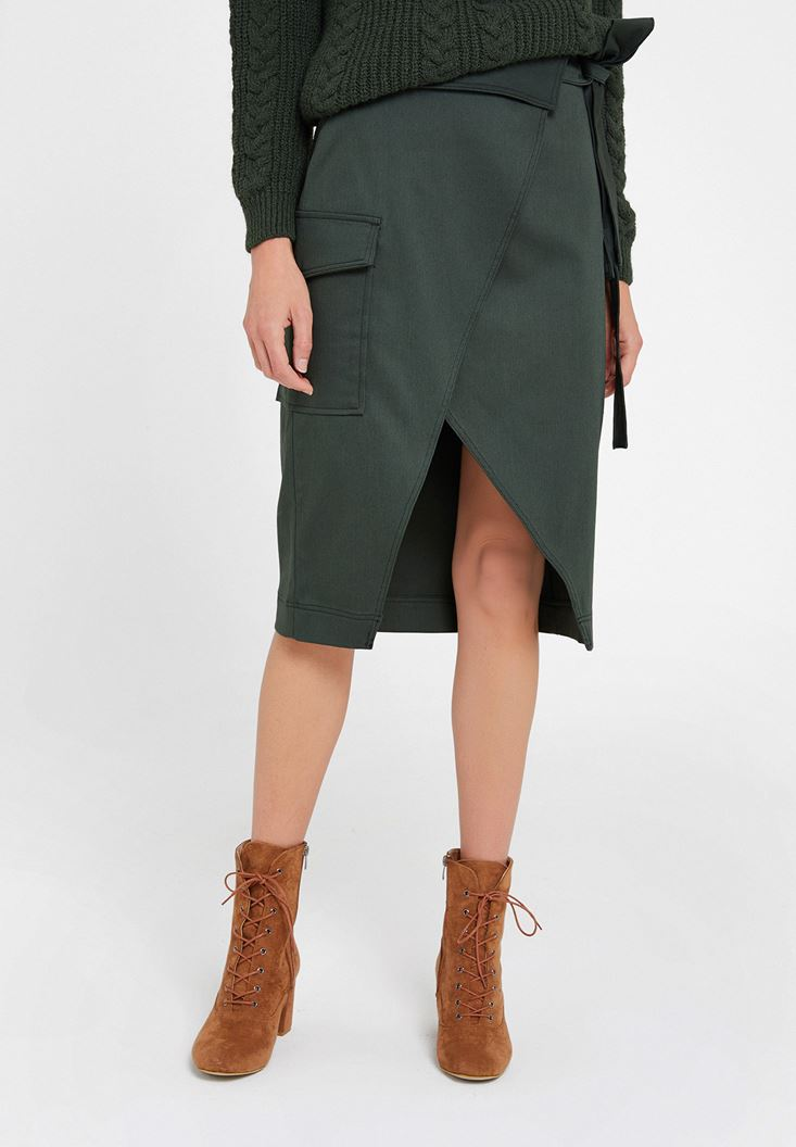 Green Skirt with Belt and Pockets