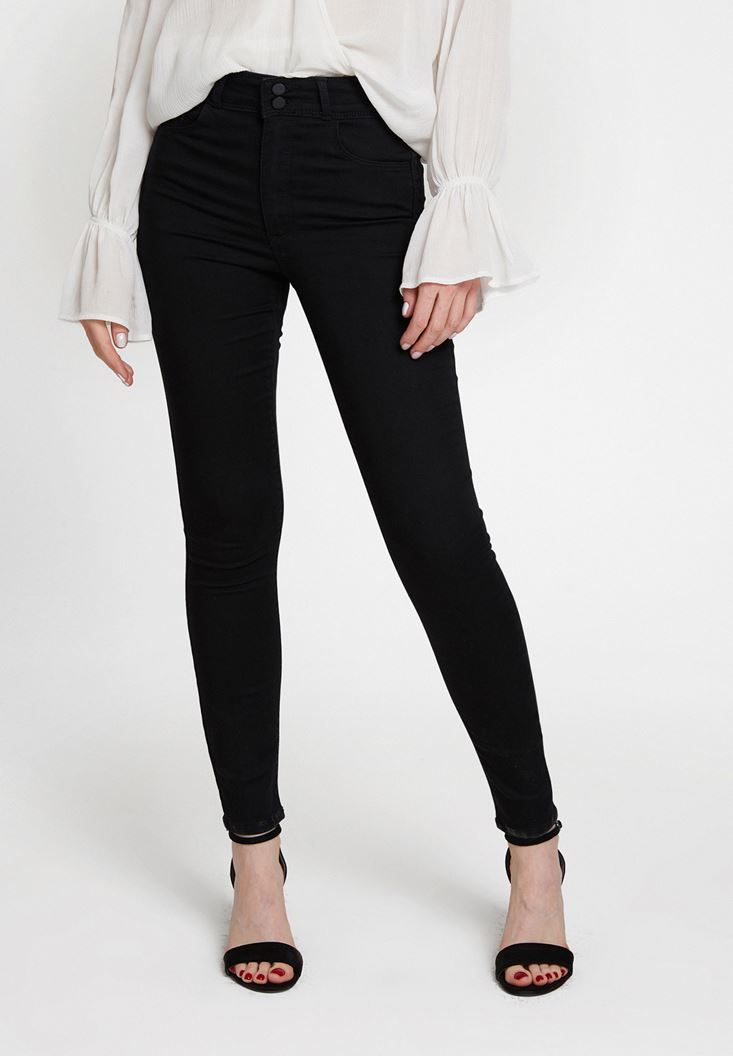 Black High Rise Trousers with Button Detail