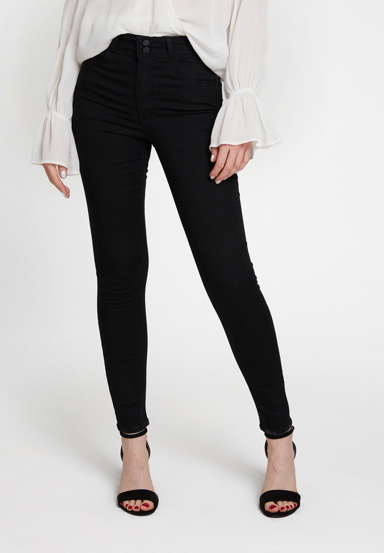 Women Black High Rise Trousers with Button Detail