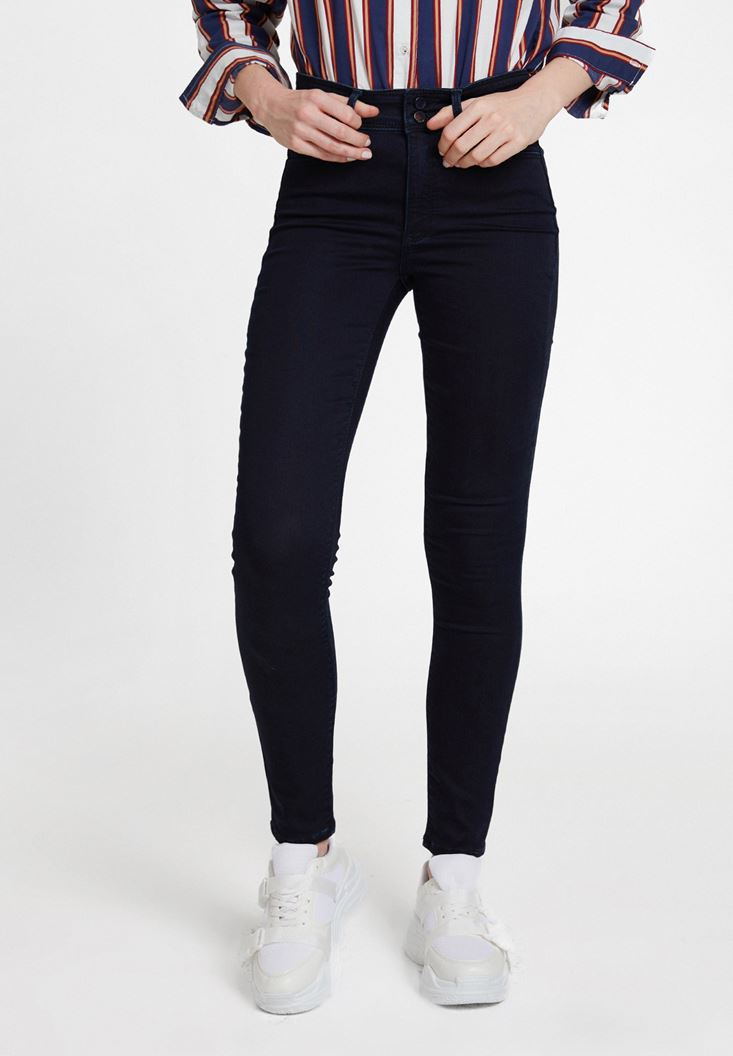 Mavi Yüksek Bel Dar Paça Detaylı Çift Düğmeli Pantolon