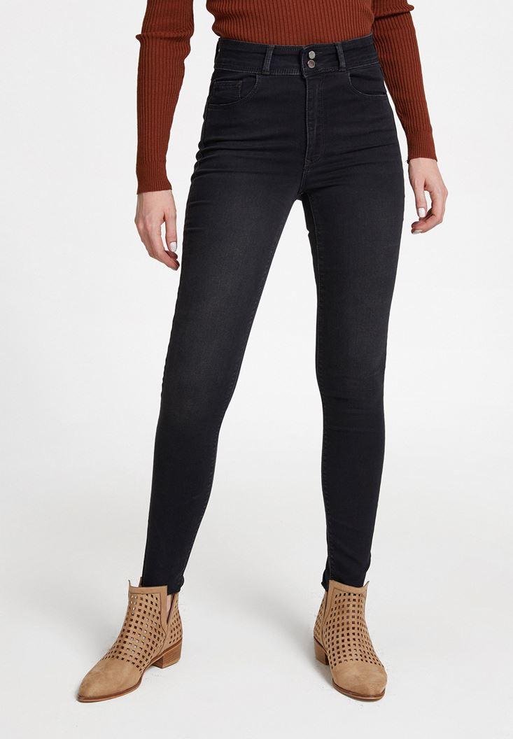 Gri Yüksek Bel Dar Paça Detaylı Çift Düğmeli Pantolon