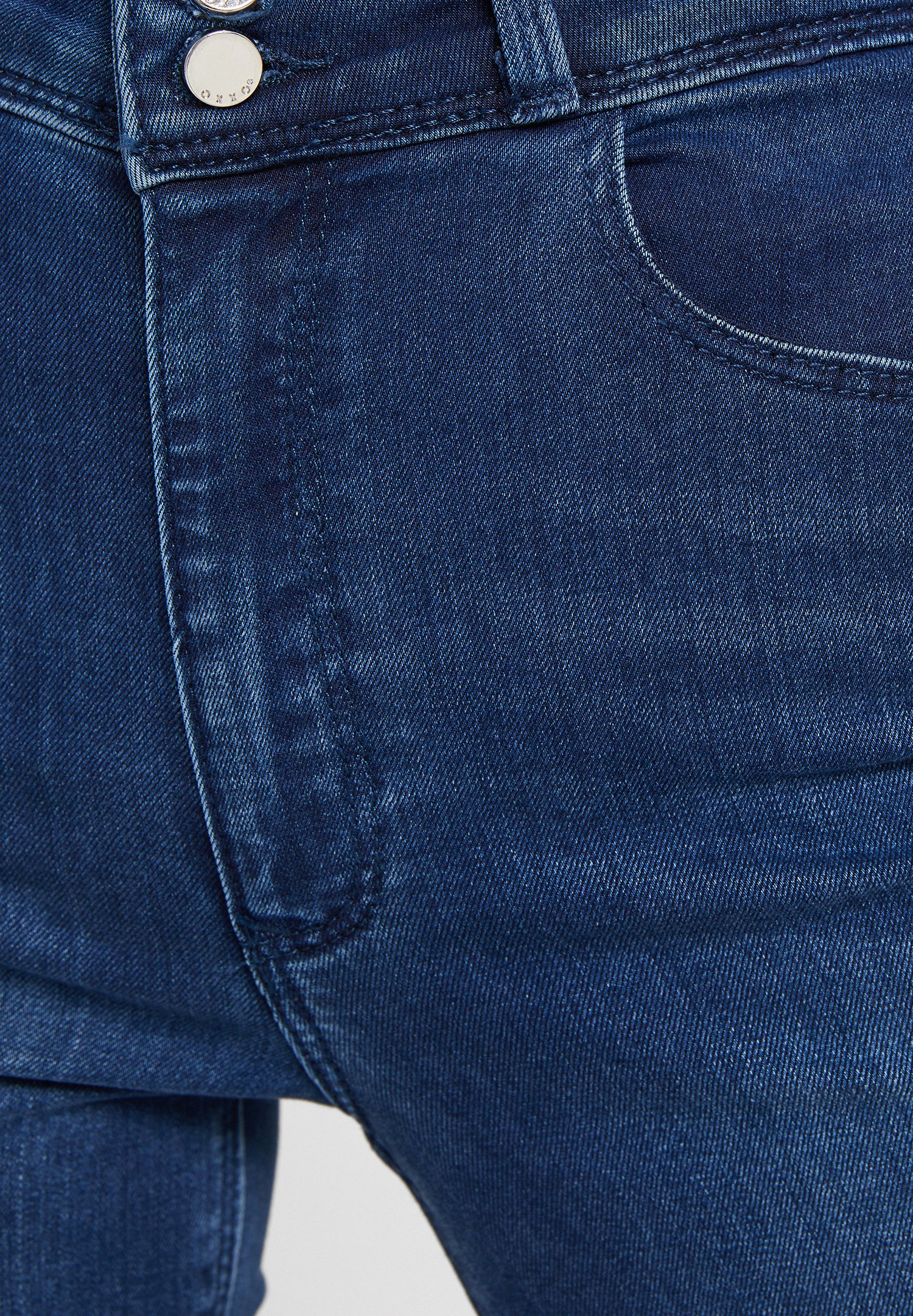 Bayan Mavi Yüksek Bel Dar Paça Detaylı Çift Düğmeli Pantolon