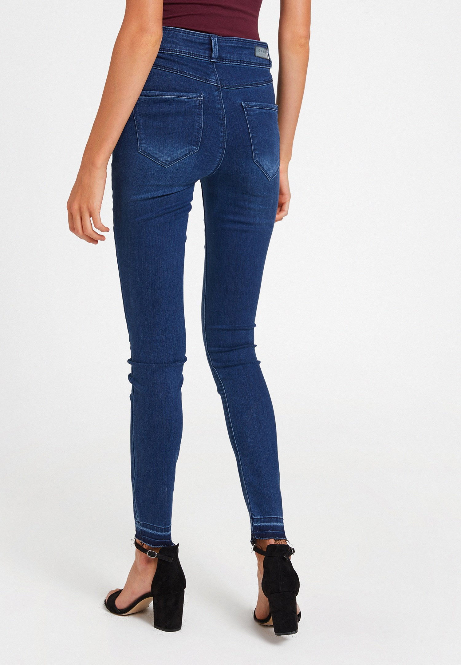 Women Blue High Rise Trousers with Button Detail