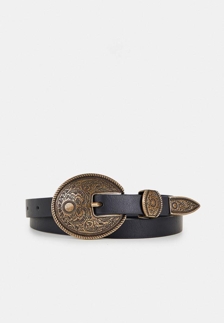 Black Belt with Metallic Buckle Detail