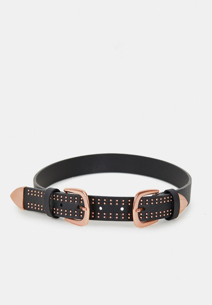 Black Double Buckle Belt with Details