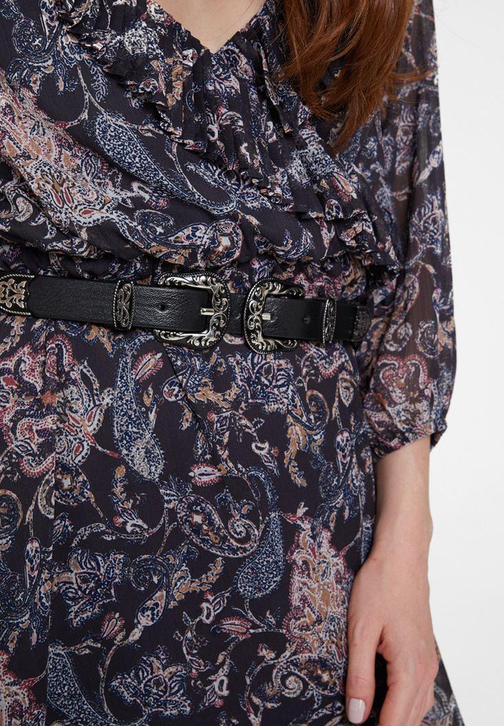 Black Buckle Belt with Details