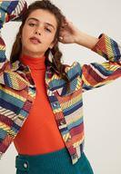 Bayan Çok Renkli Çizgi Desenli Ceket