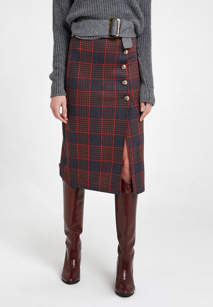 Mixed Mini Check Skirt with Slash