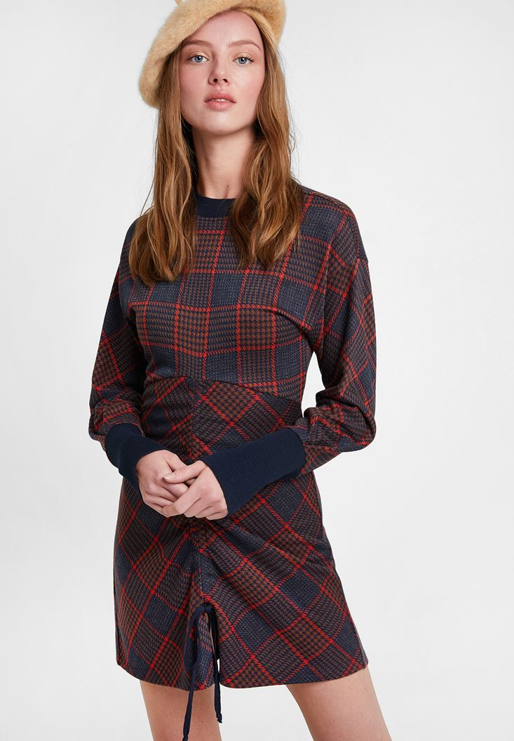 Mixed Ruched Check Skirt