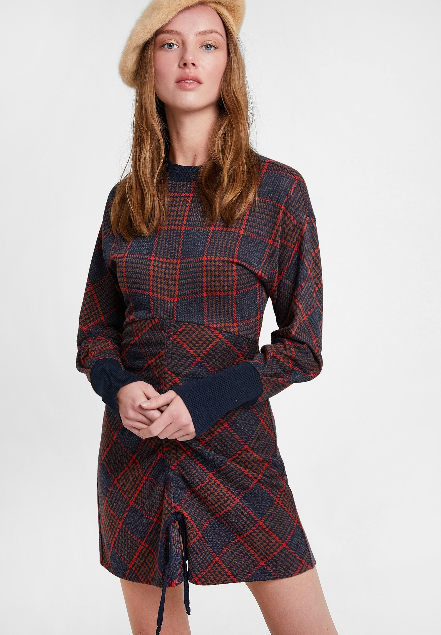 Women Mixed Ruched Check Skirt