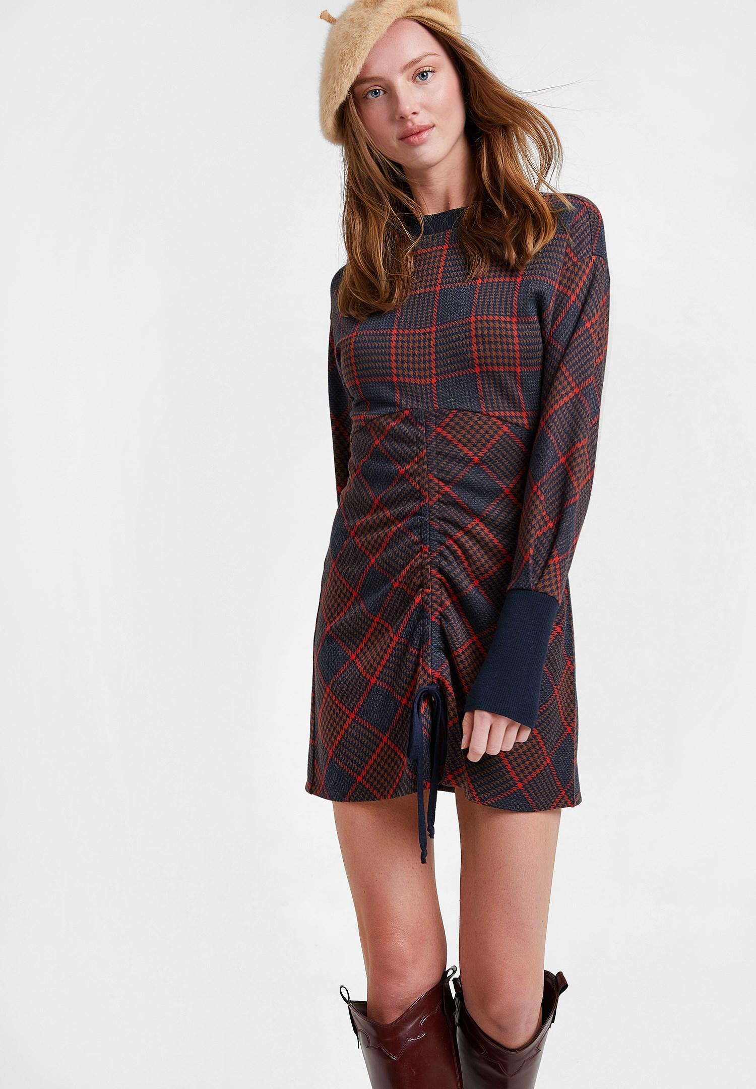 Bayan Çok Renkli Büzgülü Ekose Elbise
