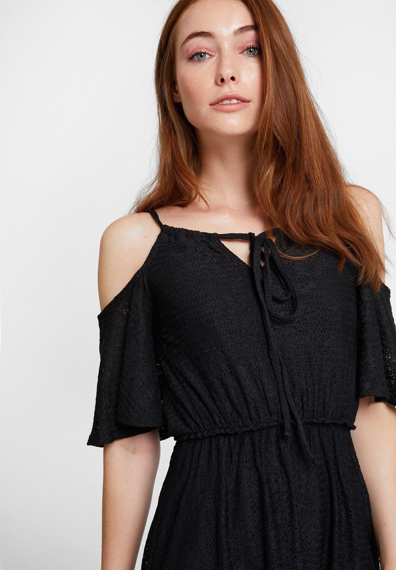 Bayan Siyah Omuz Detaylı Mini Elbise