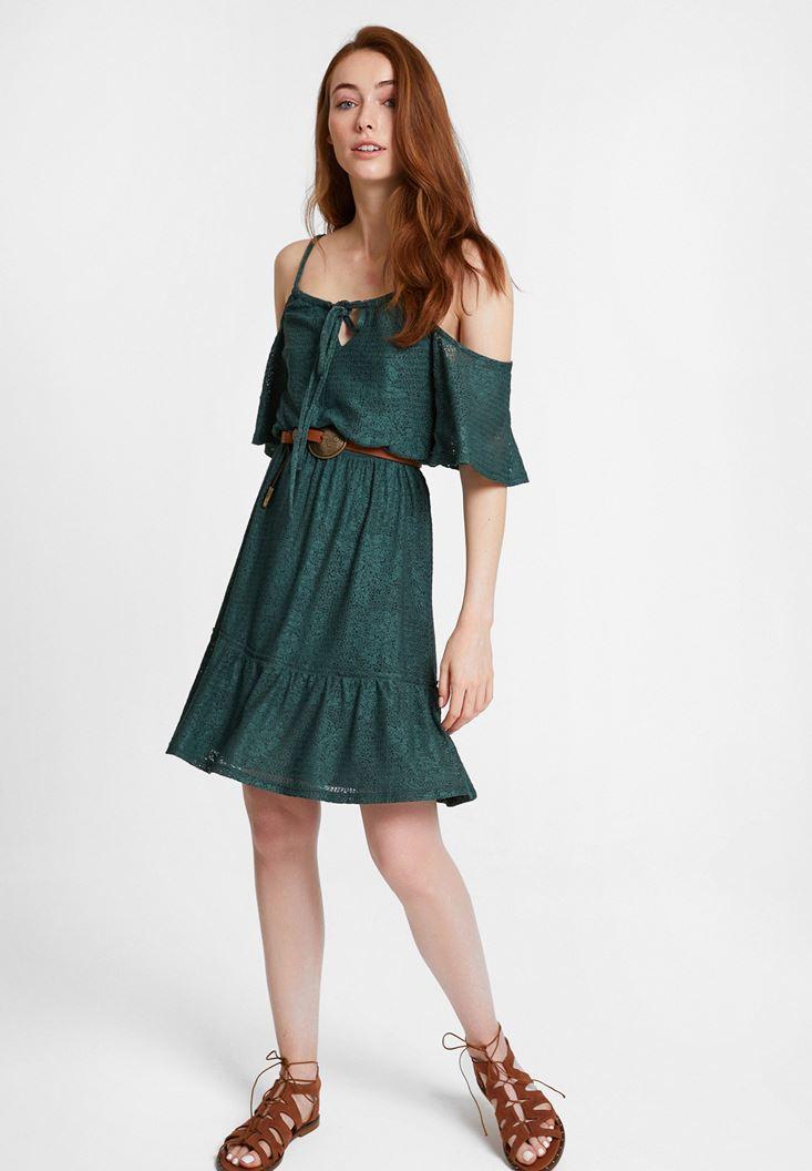 Yeşil Omuz Detaylı Mini Elbise