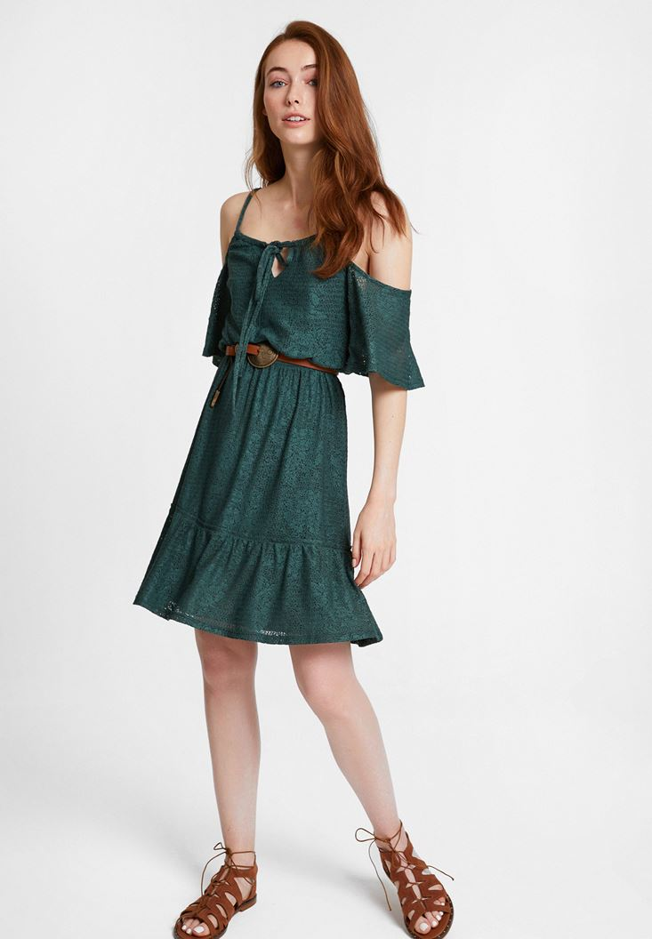 Yeşil Omuz Detaylı Mini Elbise Kombini