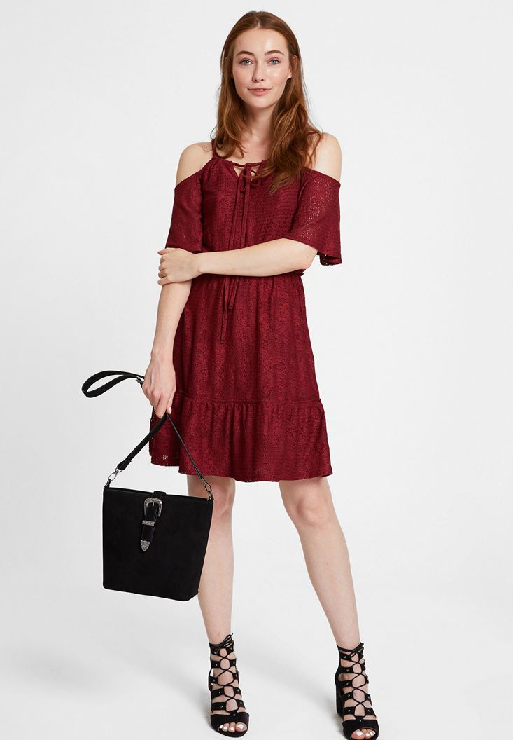 Bordeaux Mini Dress with Shoulder