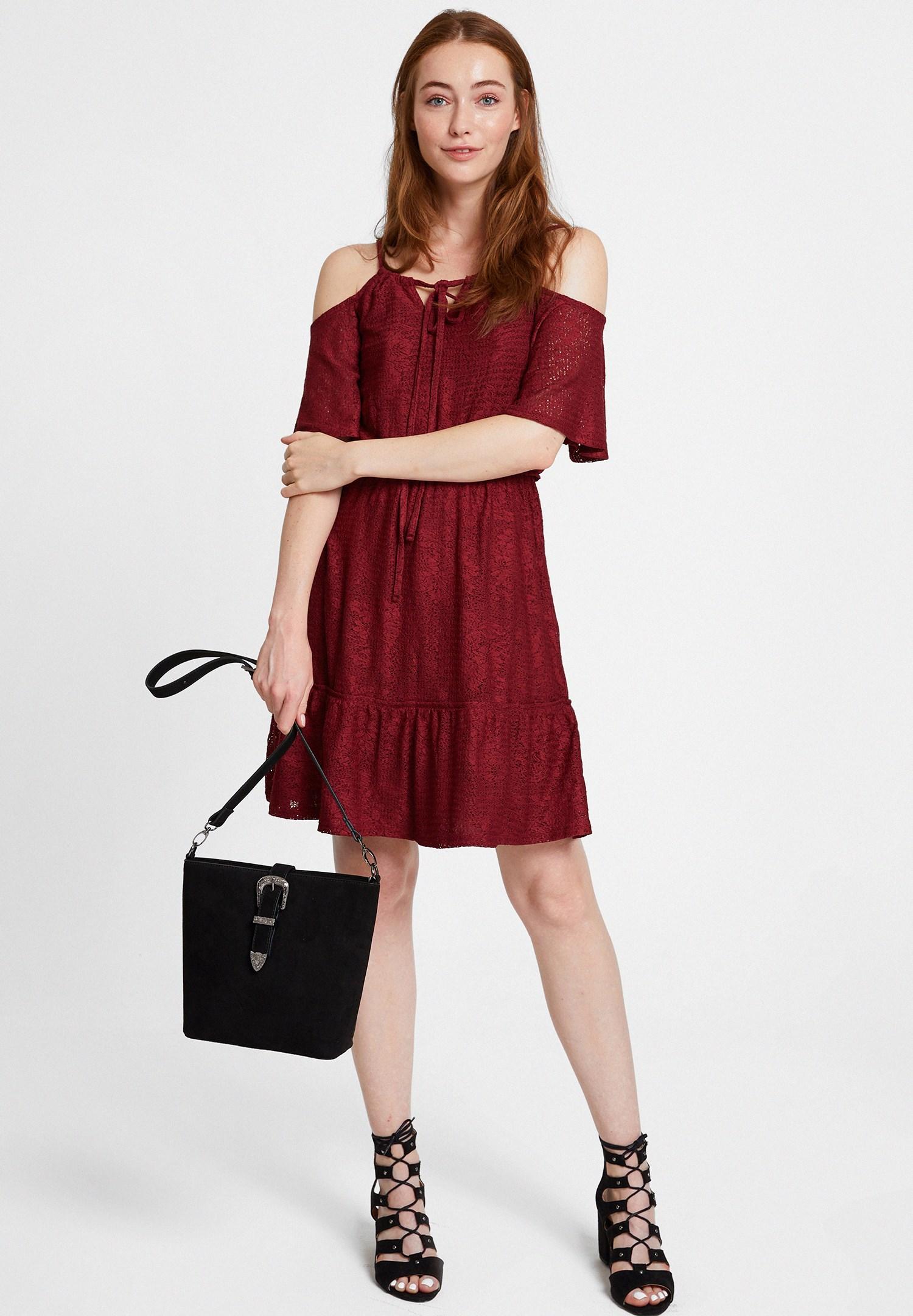 32bcfa8df43e3 Bordo Omuz Detaylı Mini Elbise Online Alışveriş 18KOX-JAKBUZEL | OXXO