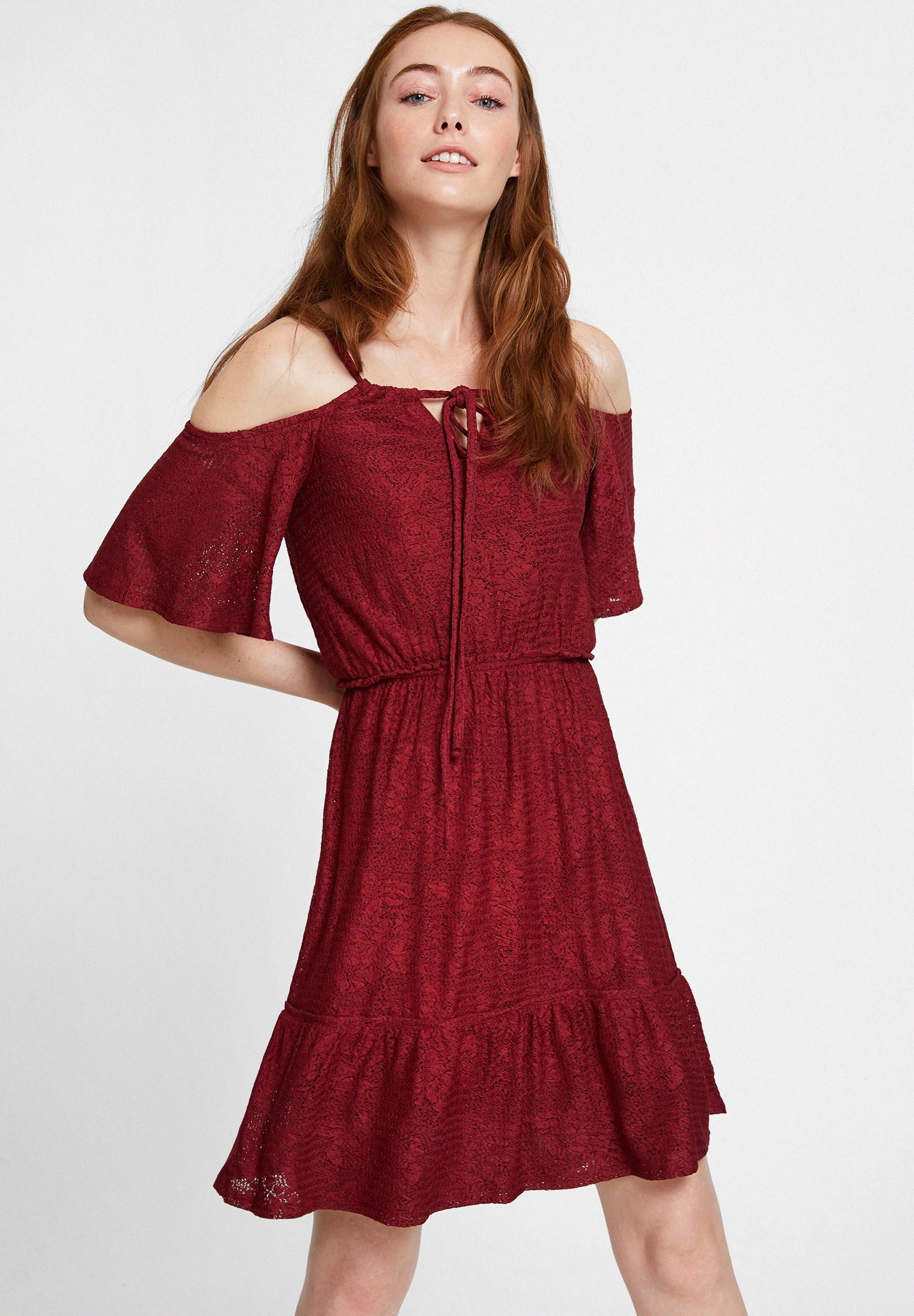 Bayan Bordo Omuz Detaylı Mini Elbise