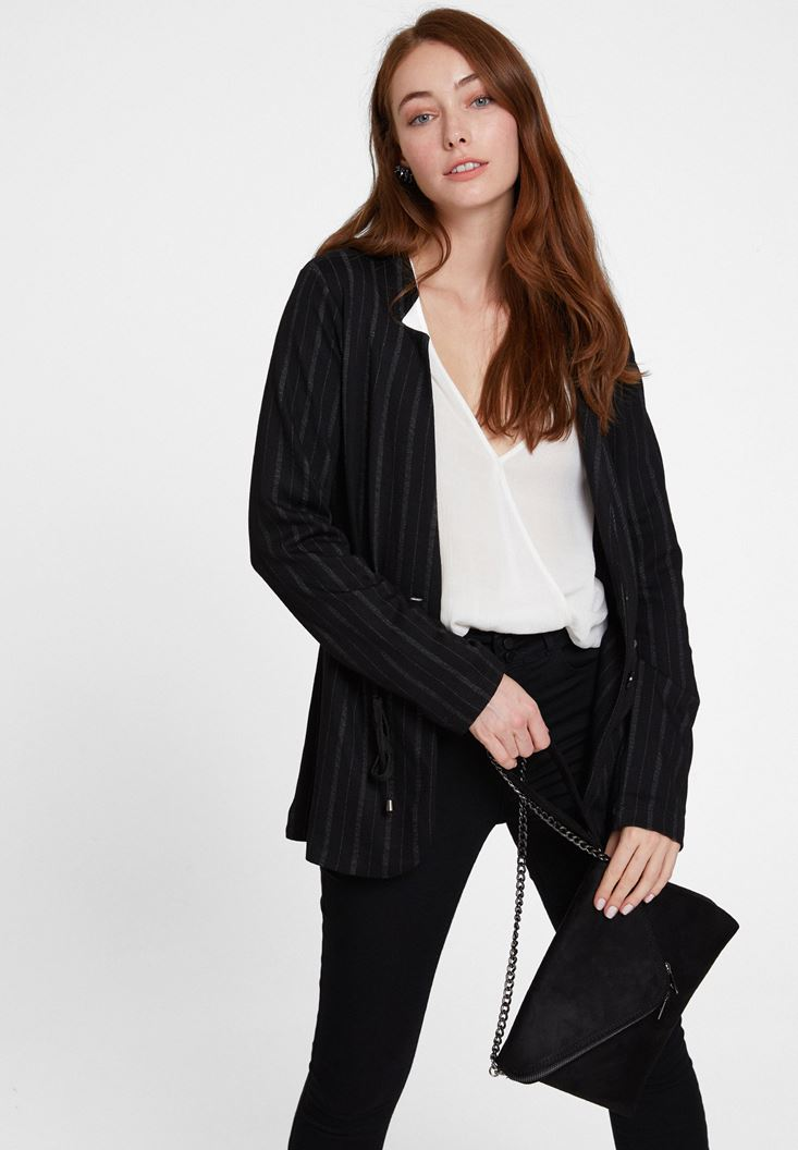 Mixed Striped Jacket with Neck Details