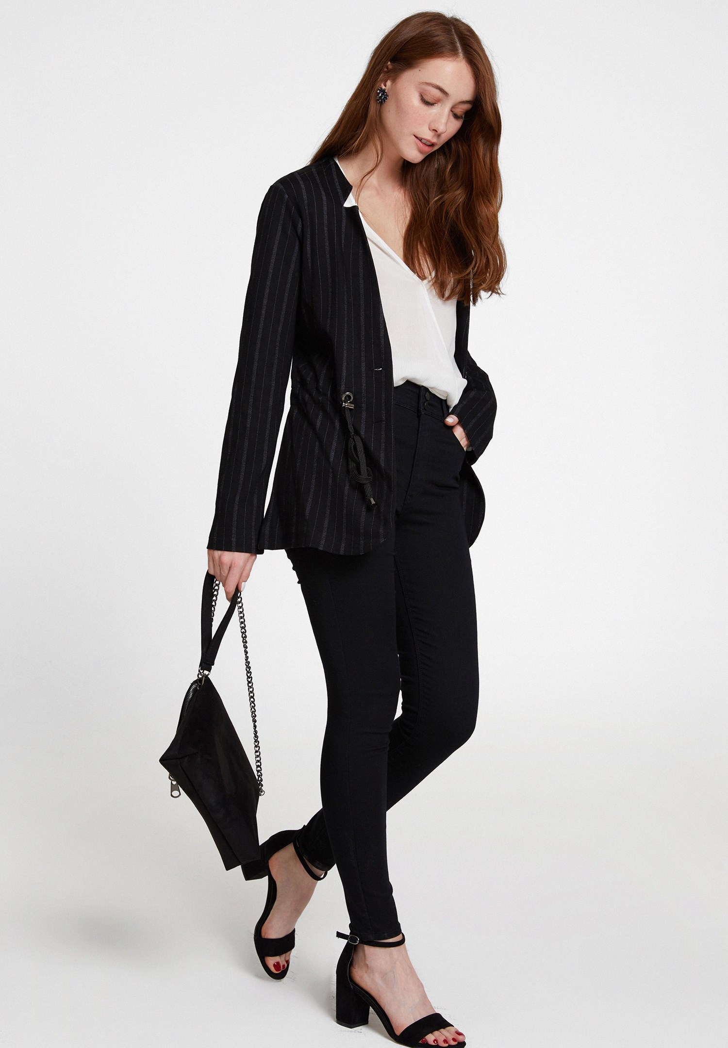 Bayan Çok Renkli Yaka Detaylı Çizgili Ceket