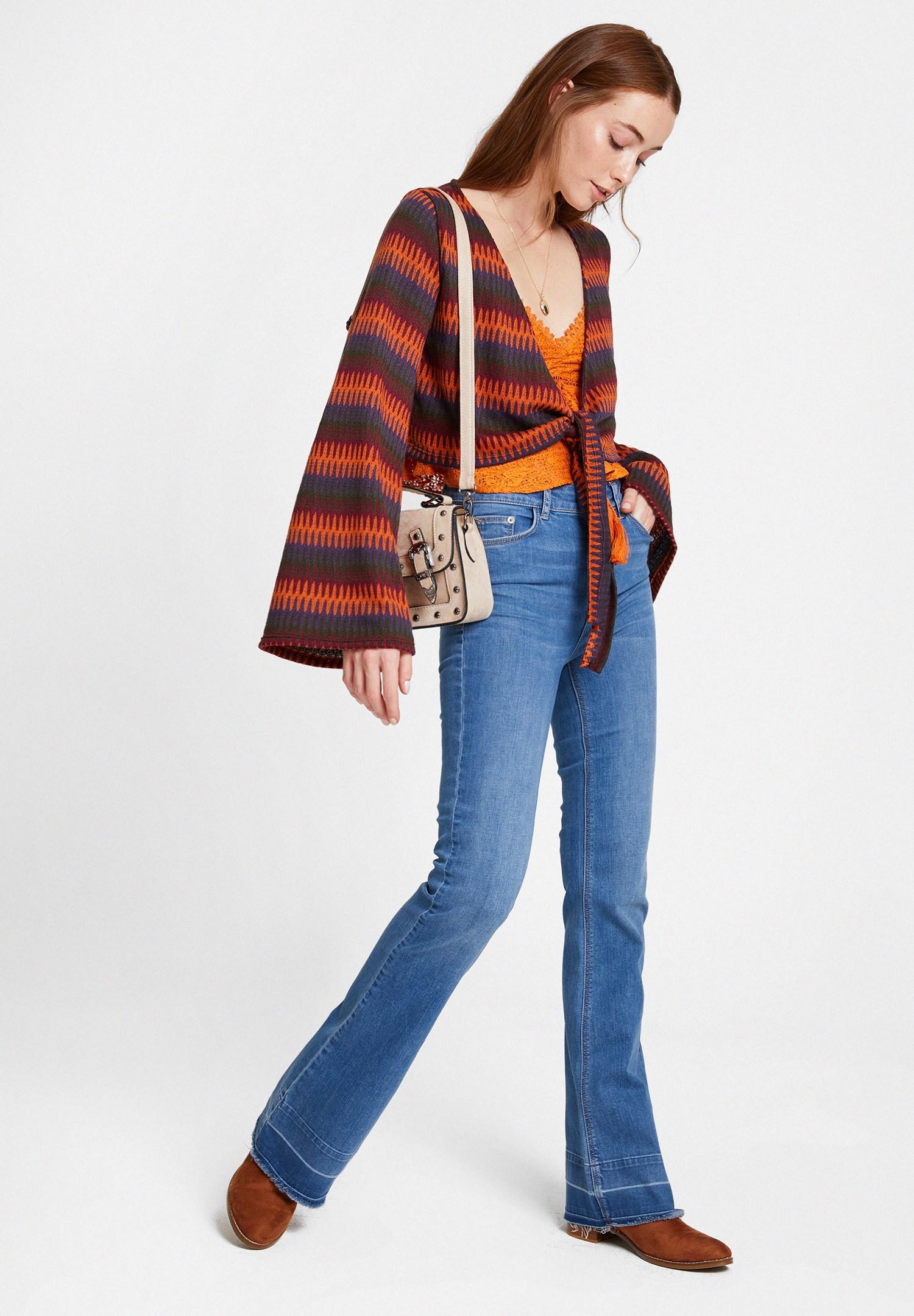 Bayan Turuncu İnce Askılı Dantel Detaylı Bluz