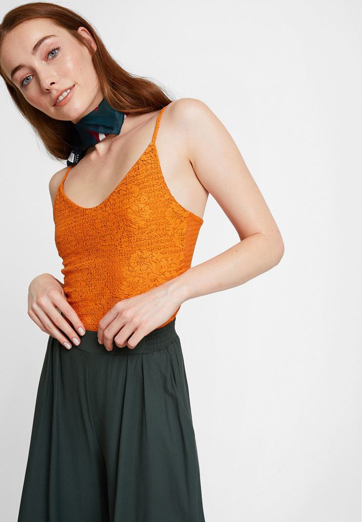 Orange Top with Thin Straps