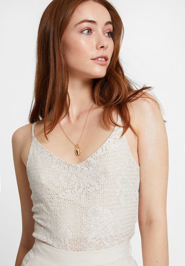 Cream Top with Thin Straps
