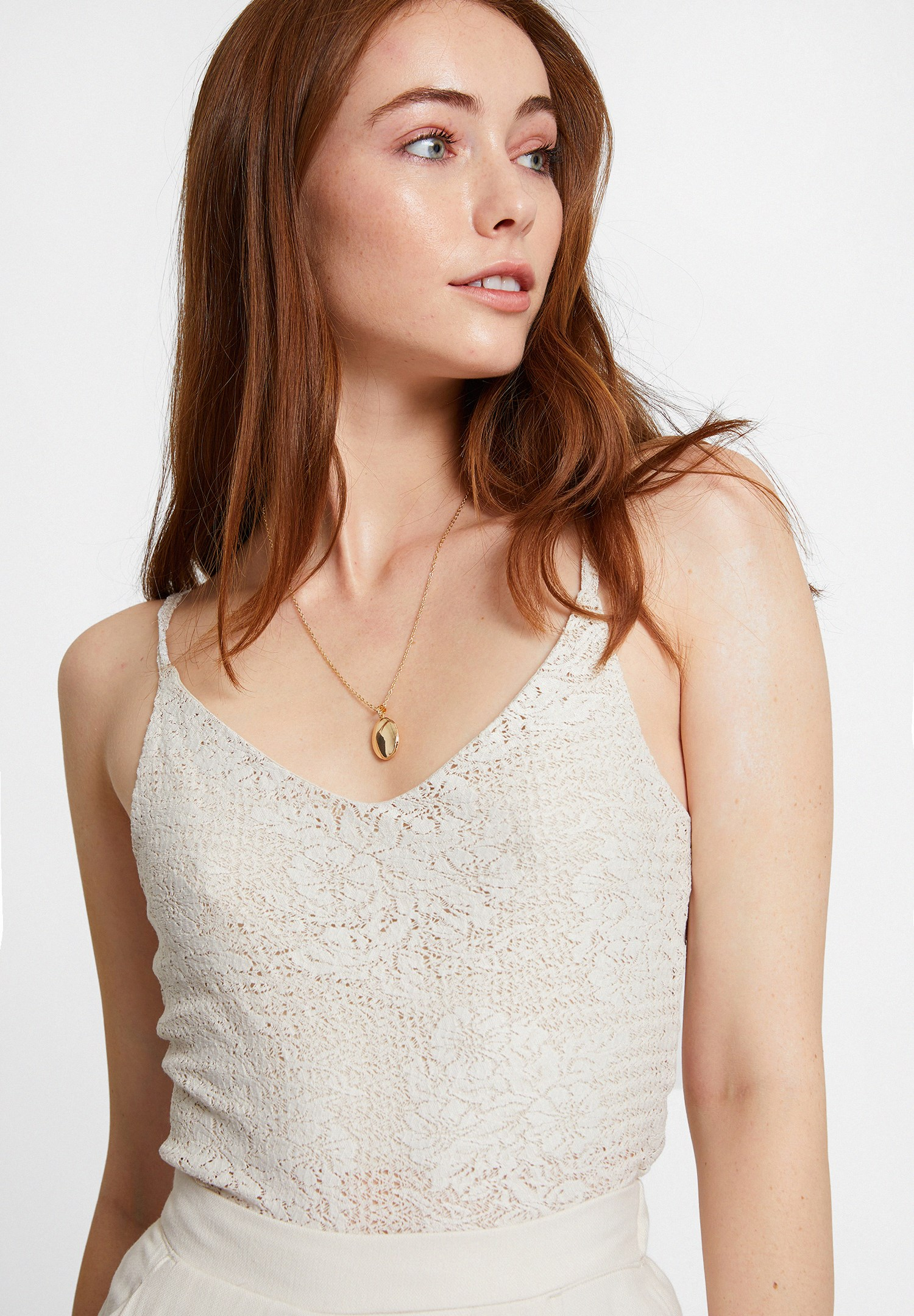 Women Cream Top with Thin Straps