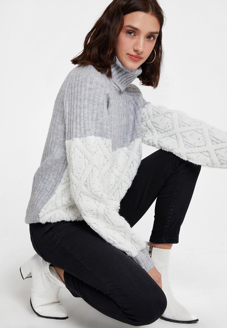 Grey Roll Neck Knitwear