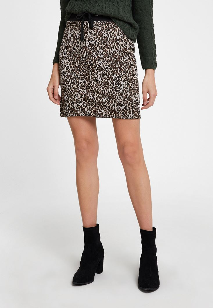 Mixed Leopard Print Skirt