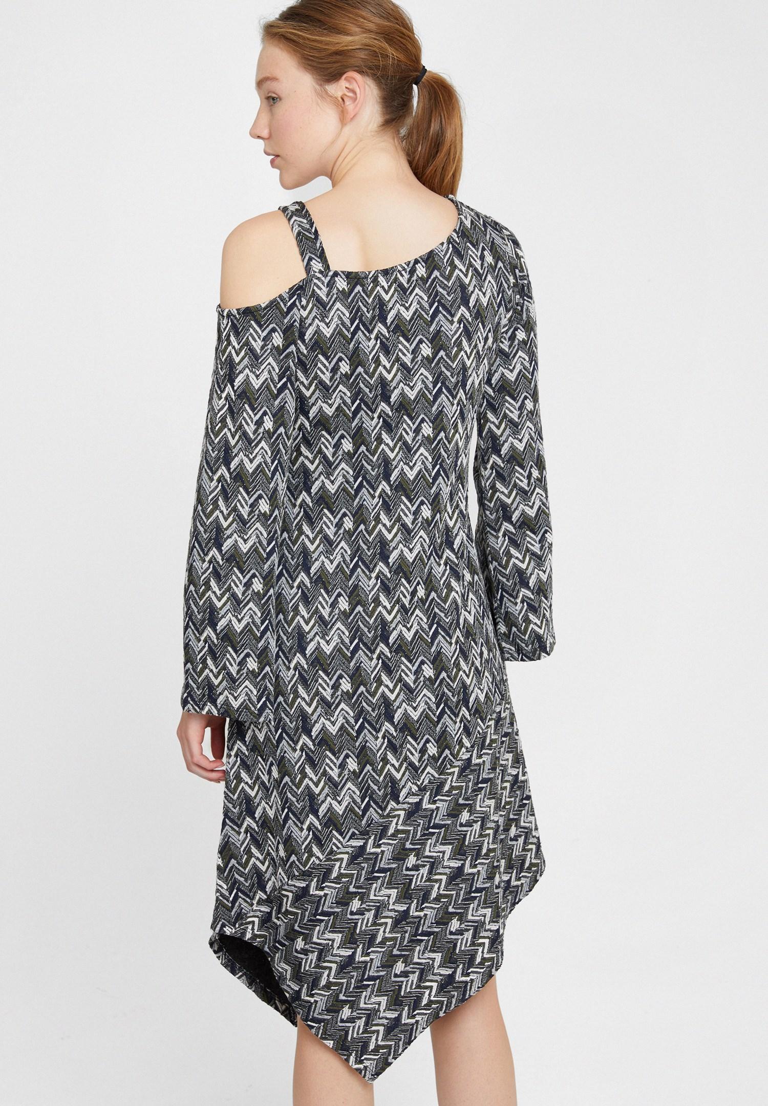 Bayan Çok Renkli Omuz Detaylı Uzun Kollu Elbise