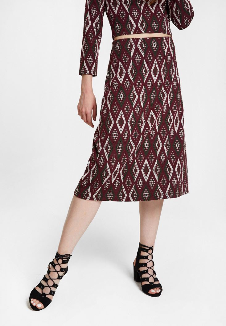 Mixed Jacquard Midi Skirt