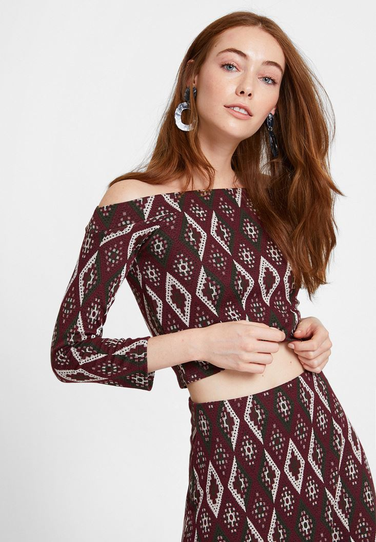 Mixed Jacquard Blouse with Details