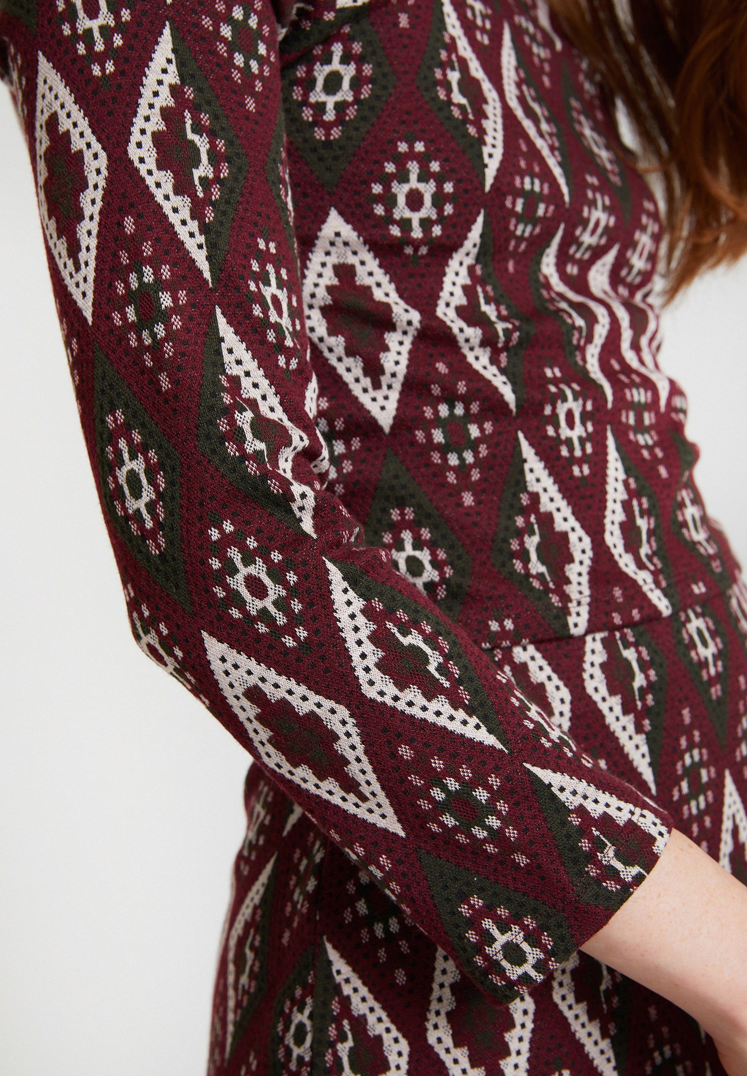 Women Mixed Jacquard Blouse with Details