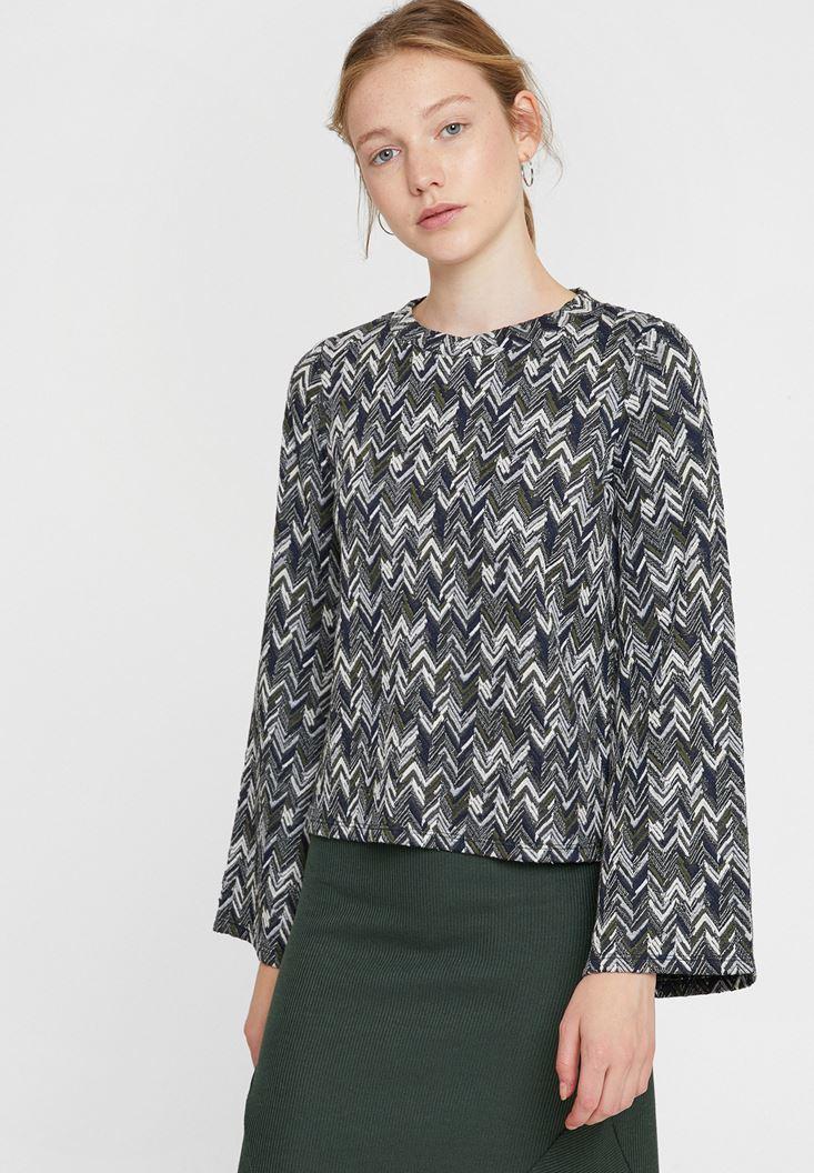 Çok Renkli Karışık Desenli Sweatshirt