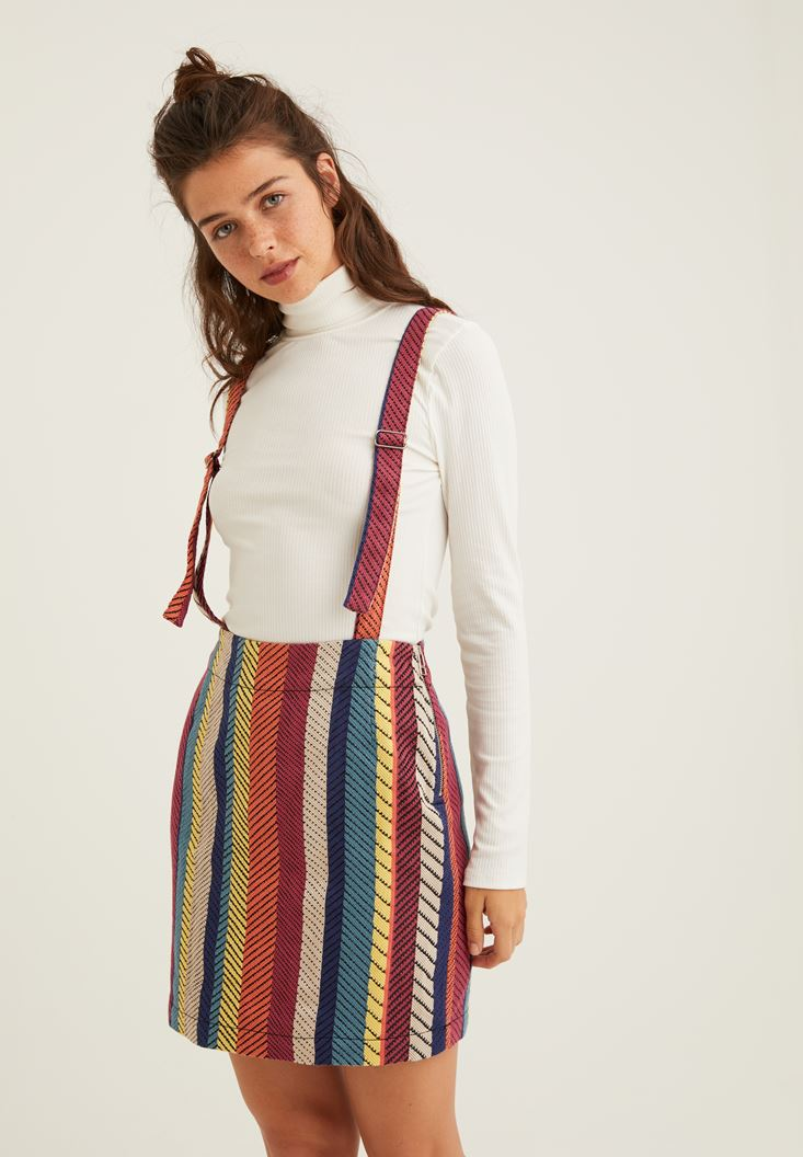 Mixed Striped Skirt with Details